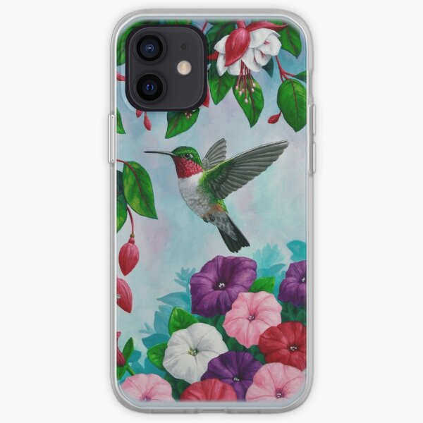 Hummingbirds and Fuchsias Purple iPhone Soft Case