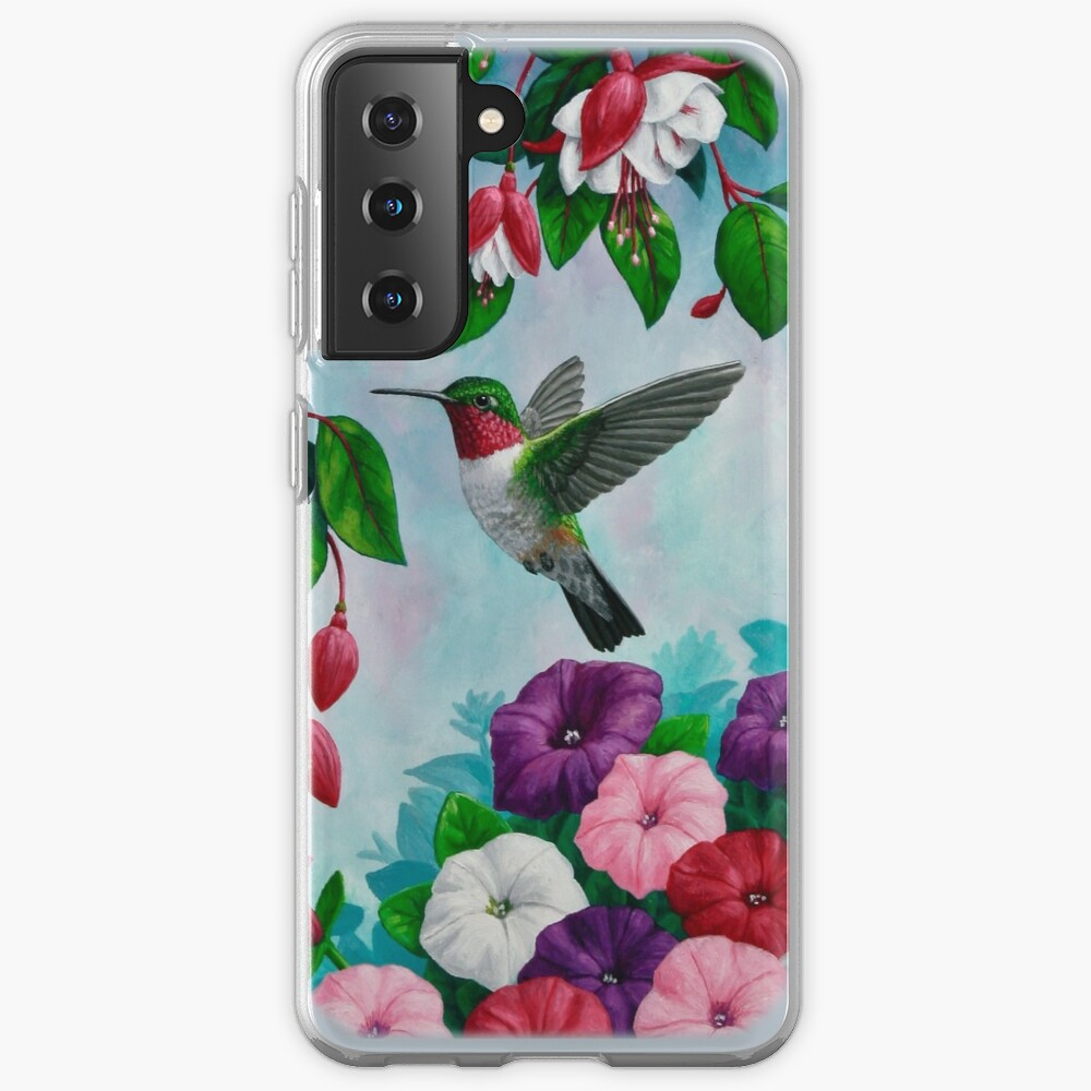 Hummingbirds and Fuchsias Purple Case & Skin for Samsung Galaxy