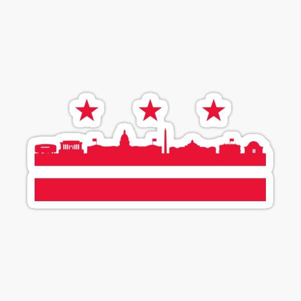 Washington DC flag landmarks  Sticker