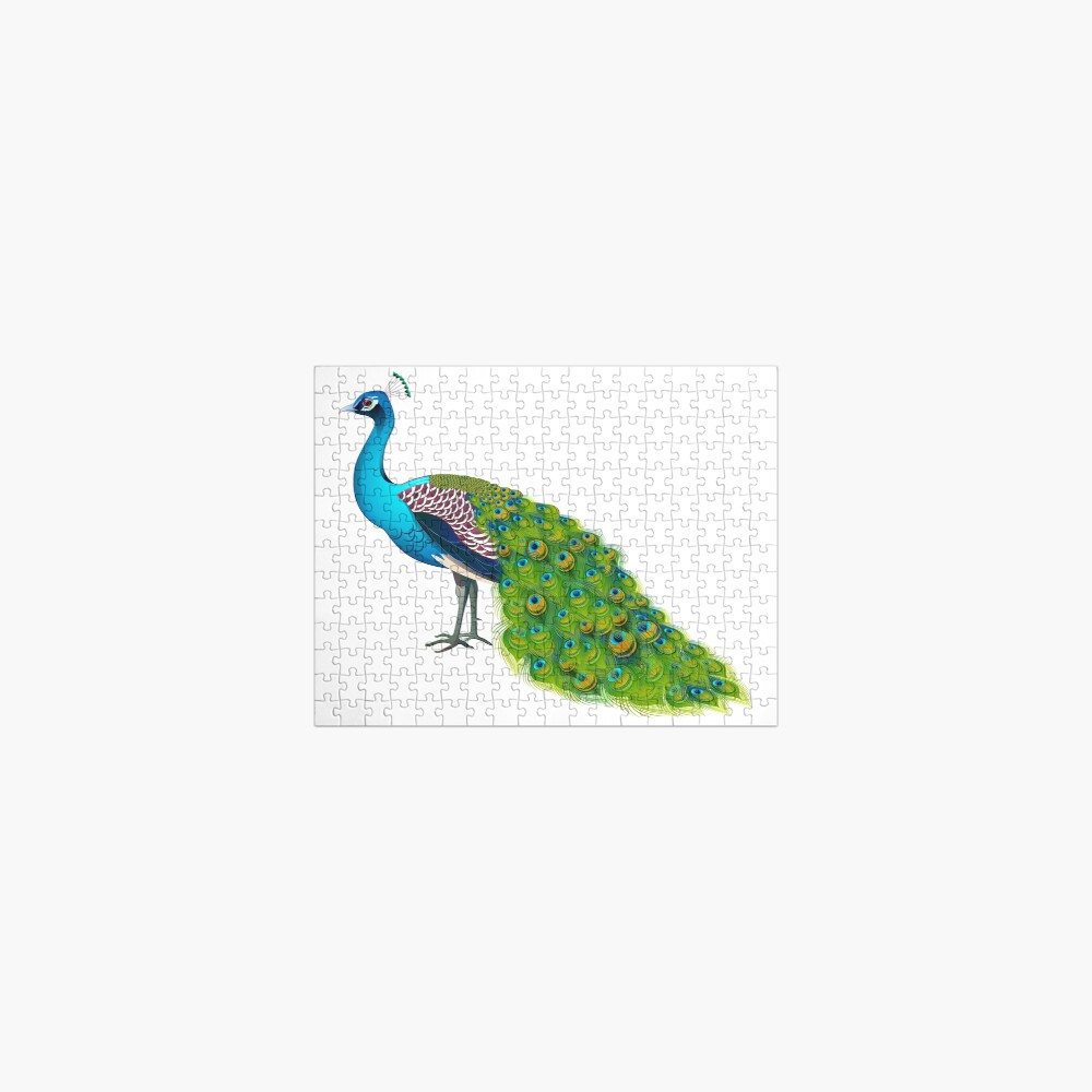 Teal Peacock Graphic Jigsaw Puzzle