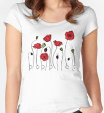 Mohnblumen Tailliertes Rundhals-Shirt