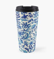 Floating Garden - a watercolor pattern in blue Travel Mug