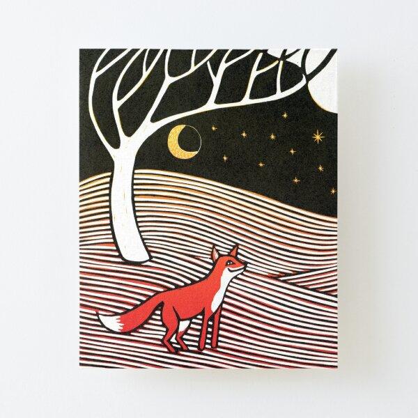 Stargazing - Fox in the Night - original linocut by Francesca Whetnall Canvas Mounted Print