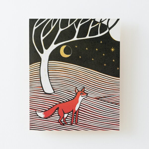 Stargazing - Fox in the Night - original linocut by Francesca Whetnall Wood Mounted Print