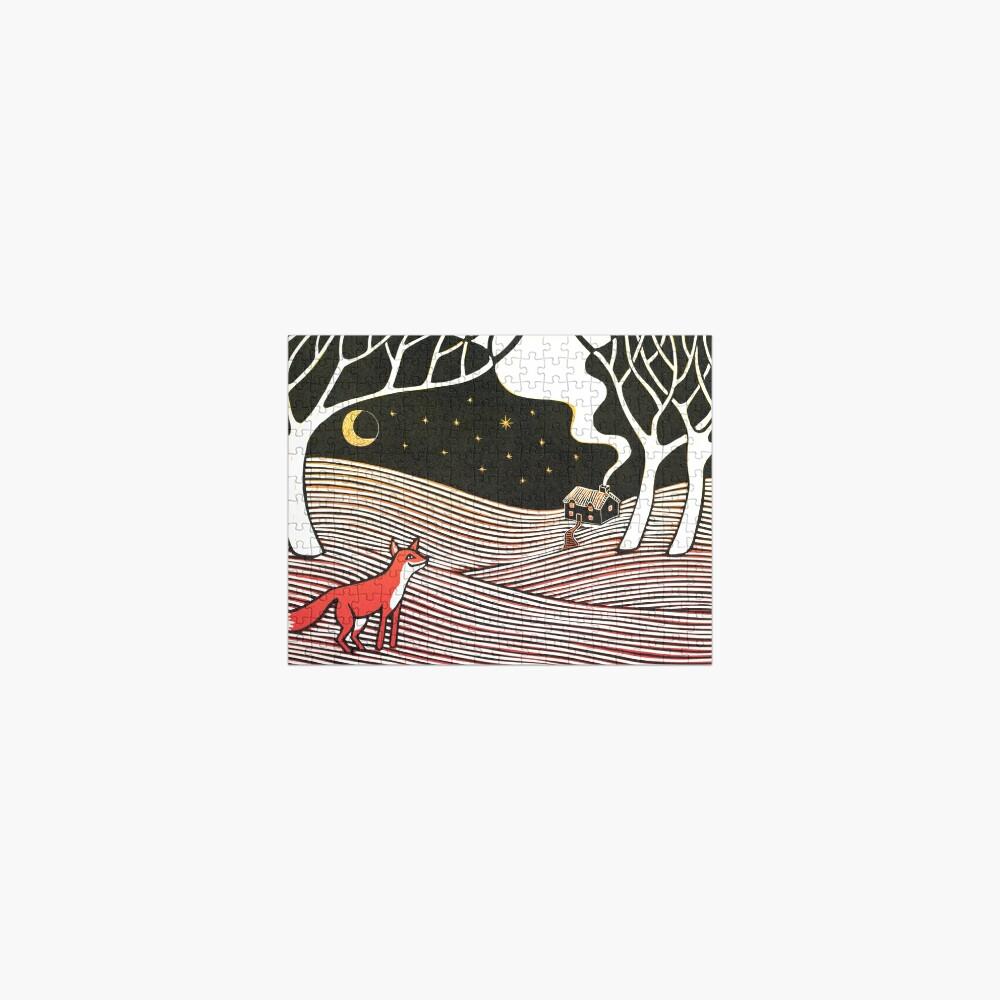 Stargazing - Fox in the Night - original linocut by Francesca Whetnall Jigsaw Puzzle