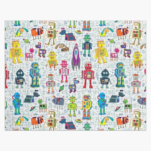 Robots in Space - grey - fun Robot pattern by Cecca Designs Jigsaw Puzzle