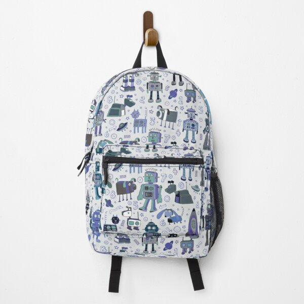 Robots in Space - blue and grey - fun pattern by a Cecca Designs Backpack