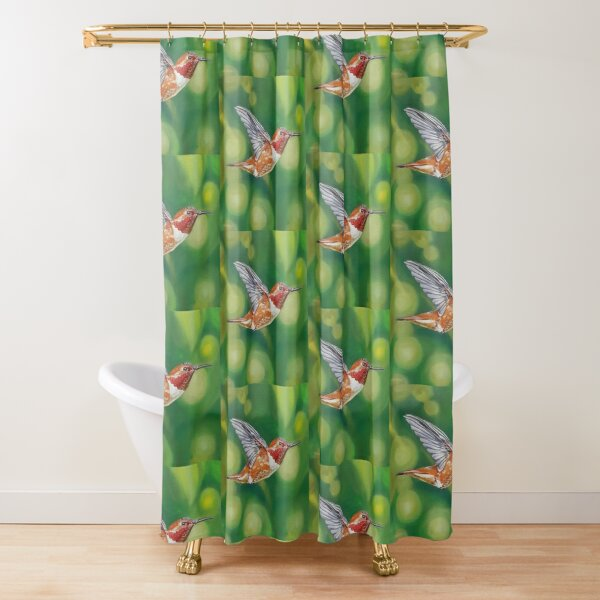 Rufous Hummingbird Painting Shower Curtain