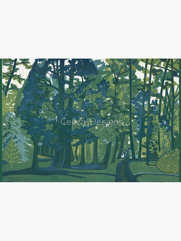 Dusk in the Gardens - Original Linocut by Francesca Whetnall by Cecca-Designs