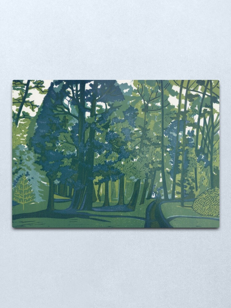 Alternate view of Dusk in the Gardens - Original Linocut by Francesca Whetnall Metal Print