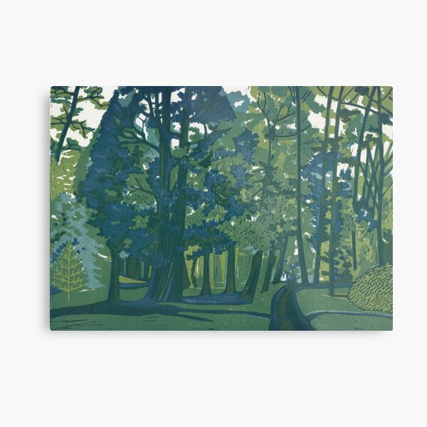 Dusk in the Gardens - Original Linocut by Francesca Whetnall Metal Print
