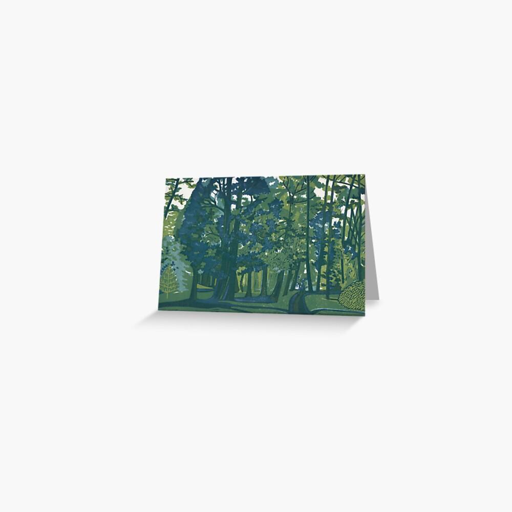 Dusk in the Gardens - Original Linocut by Francesca Whetnall Greeting Card