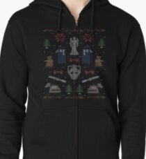 Ugly Doctor/Villain Christmas Sweater Zipped Hoodie