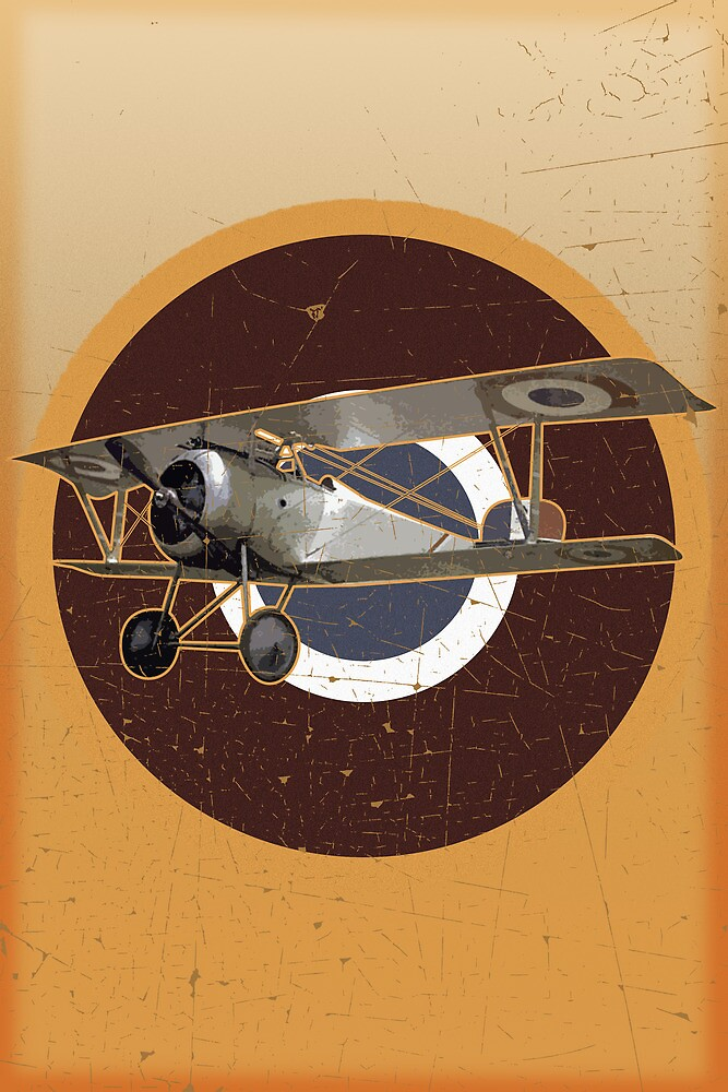 Vintage Look Nieuport fighter biplane on French Emblem by VintageSpirit