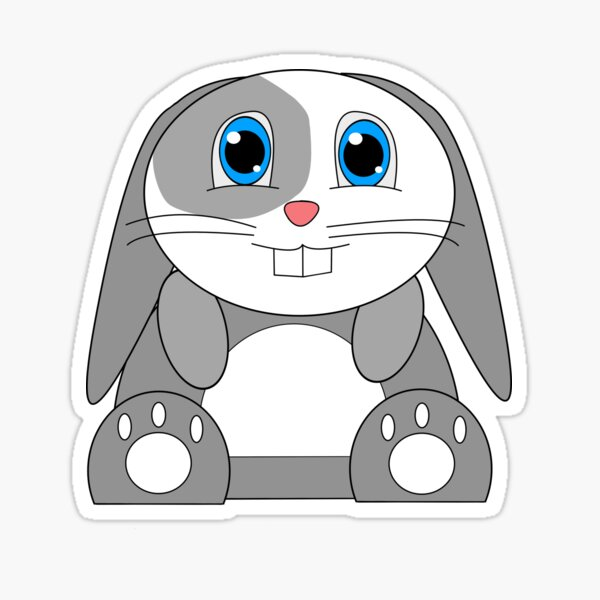 Happy Bunny Sitting (Blue) Sticker