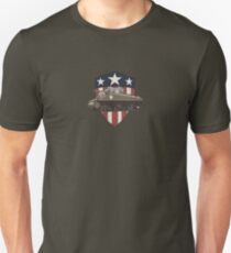 Vintage Look Sherman Tank on Captain America Style Shield T-Shirt