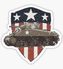 Vintage Look Sherman Tank on Captain America Style Shield Sticker