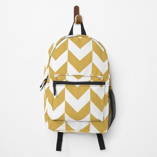 SPICY MUSTARD AND WHITE CHEVRON ZIG ZAG ARROW PATTERN BY OZCUSHIONSTOO Backpack