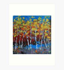 Fiery Birch Trees Art Print