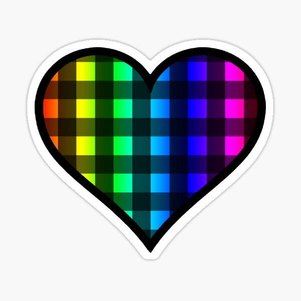 Rainbow and Black Buffalo Plaid Heart Sticker