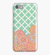 Floral Doodle on Mint Moroccan Lattice iPhone Case/Skin