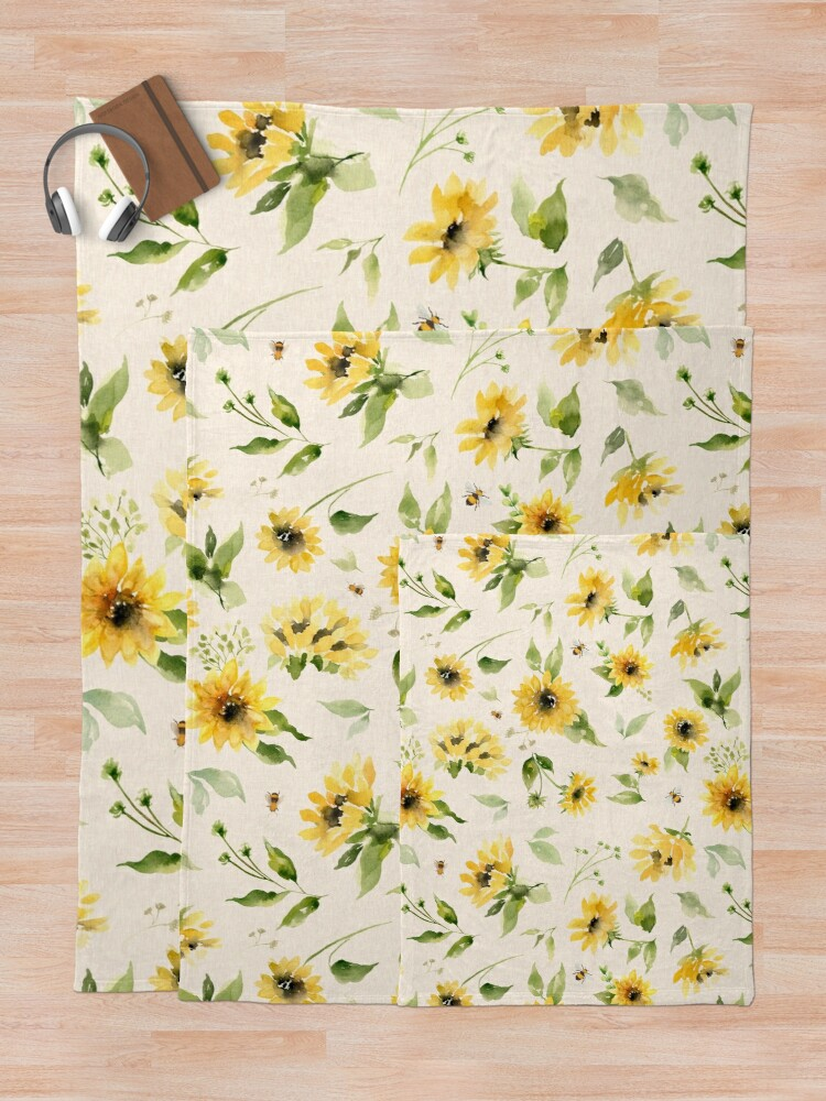 Alternate view of Sunflowers and Bees Throw Blanket