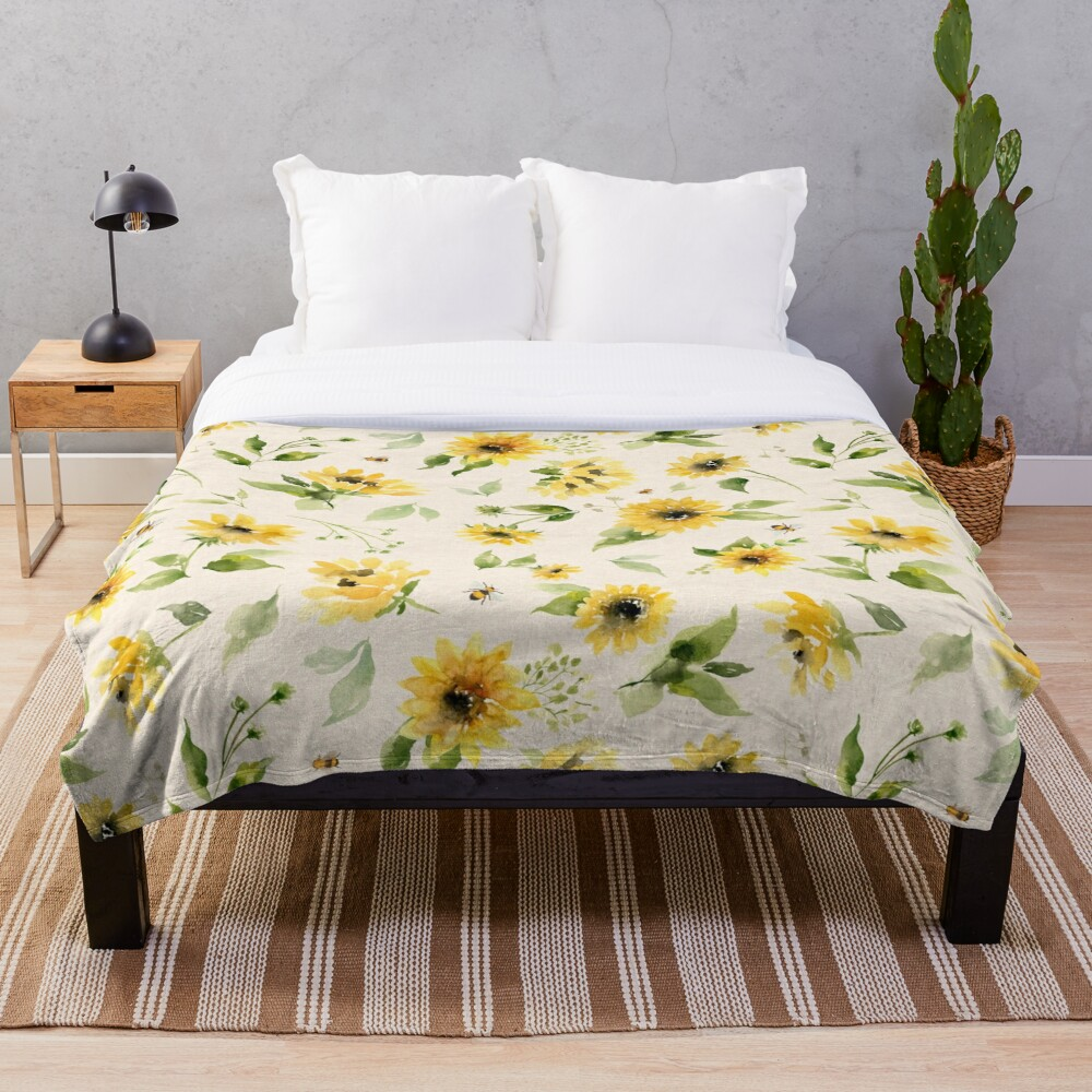 Sunflowers and Bees Throw Blanket