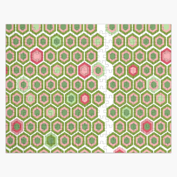 Pink and Green Honey Comb Jigsaw Puzzle