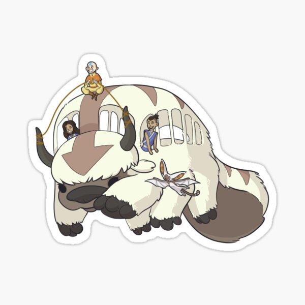 siendo conducido por Aang! Katara y Sokka son pasajeros mientras Momo pasa volando. Pegatina