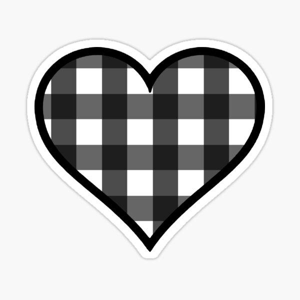 White and Black Buffalo Plaid Heart Sticker