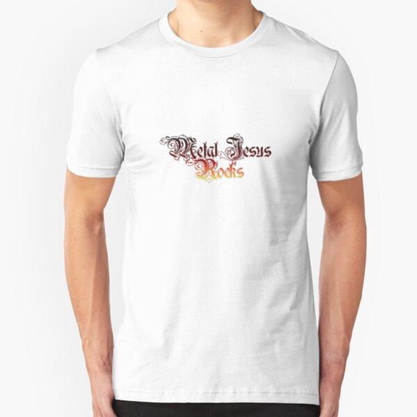 Metal Jesus Rocks - Fancy Lettering Slim Fit T-Shirt