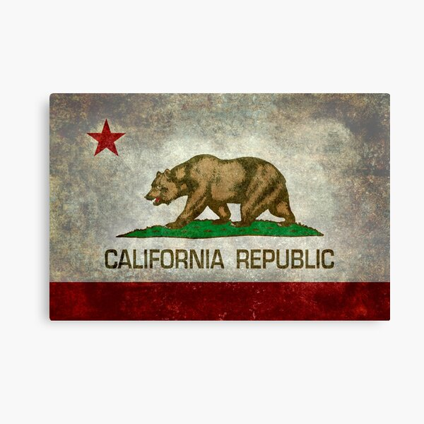 Vintage California Shaped Flag Sticker Old Distressed PCH Ca State Bear