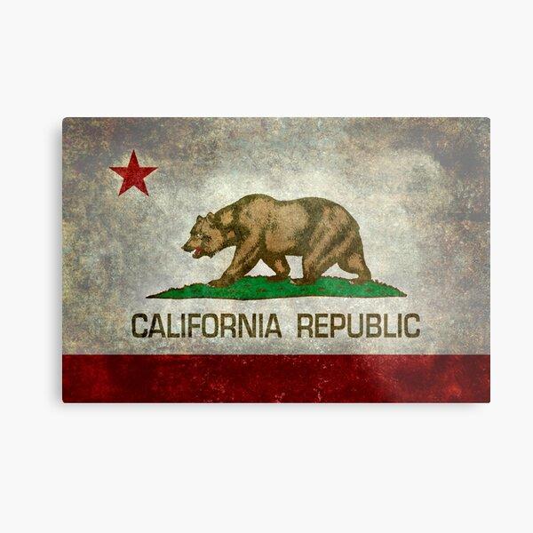 California Republic state flag - Vintage retro version Metal Print