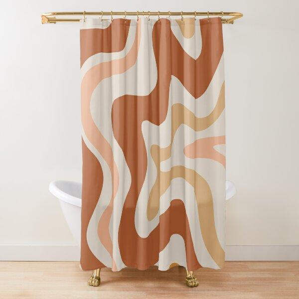 Liquid Swirl Retro Modern Abstract in Earth Tones  Shower Curtain