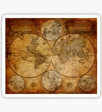 Old vintage world's map Sticker