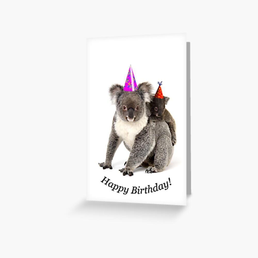 Un koala feliz cumpleaños. Tarjetas de felicitación