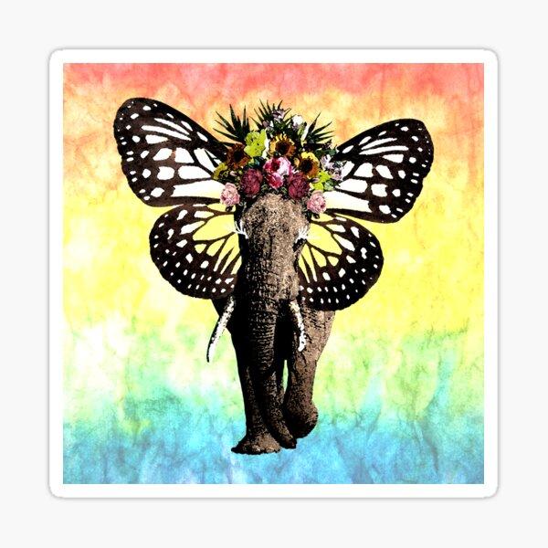 Fancy Elephant_rainbow background Sticker