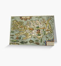 Iceland Map 1590 Greeting Card