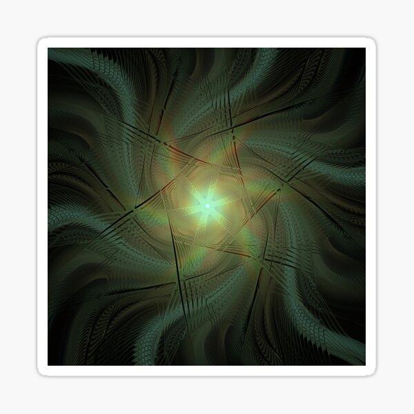 Radiant Wavy Star Intense Fractal Artwork Sticker
