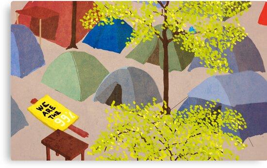 Sunrise in Zuccotti Park - OWS by Alessandro Bonaccorsi