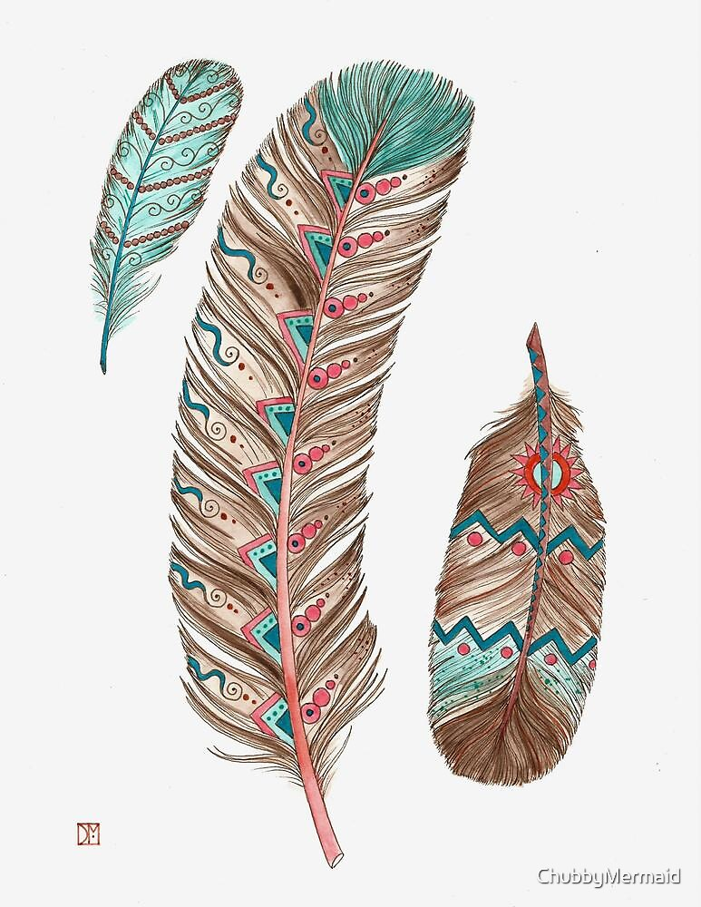 Quot Feathers 3 Peach And Blue Quot By Chubbymermaid Redbubble