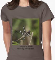 Dragonfly Reads Morning Newspaper Women's Fitted T-Shirt