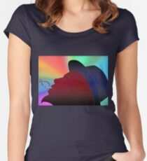 Portrait of Thelonious Monk Colorful Silhouette Smoking  Women's Fitted Scoop T-Shirt
