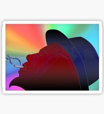 Portrait of Thelonious Monk Colorful Silhouette Smoking  Sticker