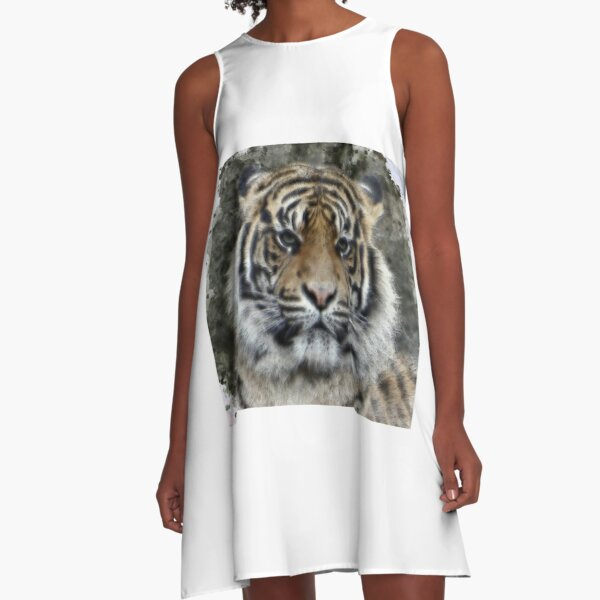 Watercolor Portrait of a Tiger A-Line Dress