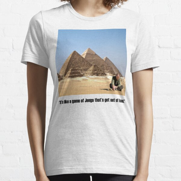 """Karl Pilkington - """"It's like a game of Jenga that's got out of hand"""" Essential T-Shirt"""