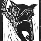 Dancing Wolf linocut by craftyhag