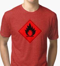 Flammable Warning Sign Tri-blend T-Shirt