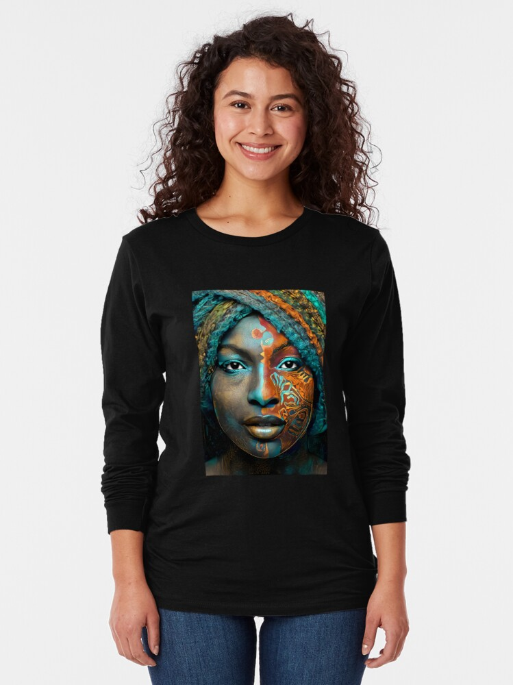 Alternate view of The Queen of the Nile in Beautiful Orange, Gold, and Turquoise Long Sleeve T-Shirt