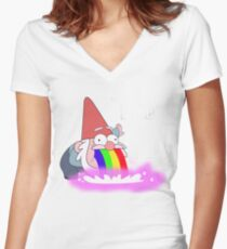 Puking Rainbows (no text) Women's Fitted V-Neck T-Shirt
